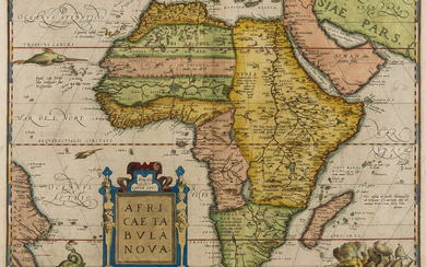 Africa.- Ortelius (Abraham) Africae Tabula Nova, map of the African continent, with fine early hand-colouring, [1570 or later].