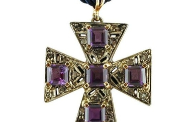 Amethysts, Diamonds, 9 Karat Rose Gold and Silver Cross