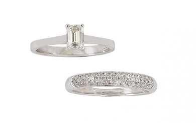 An 18ct white gold, diamond single stone...
