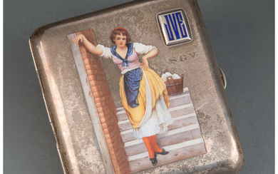An Austro-Hungarian Enameled Silver Cigarette Case (late 19th-early 20th century)