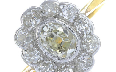 An oval-shape diamond and old-cut diamond cluster ring.