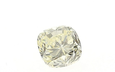 An unmounted cuhsion-cut diamond weighing 0.77 ct. Colour Fancy Light Yellow.