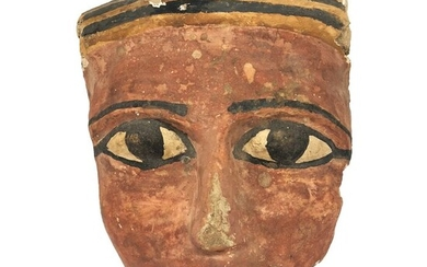 Ancient Egyptian polychrome clay mask, 23 x 20 cm