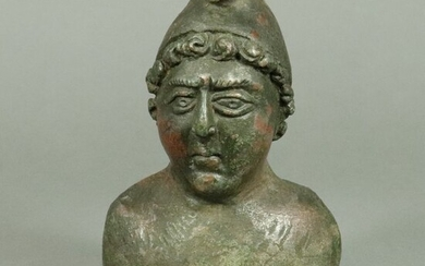 Ancient Roman Bronze Bust of a young man in Phrygian cap, decoration of chariot - 129×84×69 mm - (1)