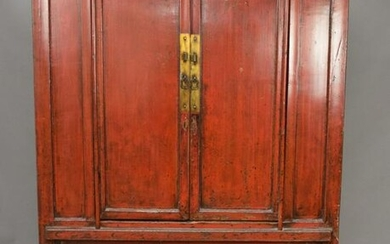 "Antique Chinese Red Lacquered 2 Door Cabinet, 52""W x"