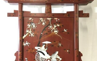 Asian Wood Panel W Mother Of Pearl Inlay