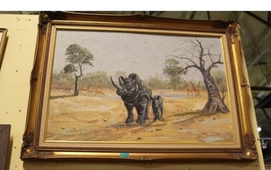 """B. McMullen """"Rhinoserous and Calf"""" Oil in Gilt Frame (65cm x..."""