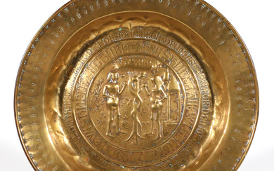 BRASS ROSE WATER OR ALMS DISH (15th Century)