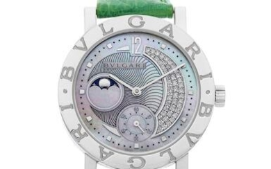 BVLGARI | BVLGARI BVLGARI, A Lady's STAINLESS STEEL WRISTWATCH WITH DIAMOND-SET, MOTHER-OF-PEARL DIAL and Moon Phases, CIRCA 2009