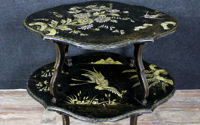 Beautiful japonisant pedestal table double Napoleon III era - black pear and lacquer - Mid 19th century