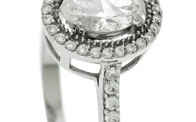 Brilliant ring WG 585/000 with an oval diamond...