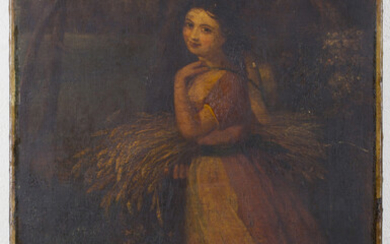 British School - Woman carrying a Sheaf of Corn with a Dog at her Side, 19th century oil on canvas