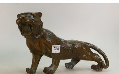 Bronze model of a tiger: height 20cm 38cm long