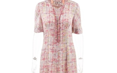 CHANEL | PINK BEADED NECKLACE AND MULTICOLOR SILK DRESS