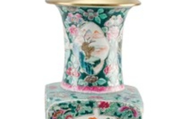 """CHINESE FAMILLE VERTE PORCELAIN VASE With trumpet mouth and decoration of landscape and object cartouches. Height 19"""". Mounted as a..."""