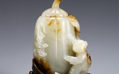 CHINESE HETIAN JADE CARVED FIGURE BOTTLE ON ROSEWOOD