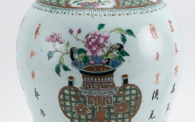"""CHINESE POLYCHROME PORCELAIN JAR In inverted pear form, with decoration of a bronze vessel. Height 13.5""""."""