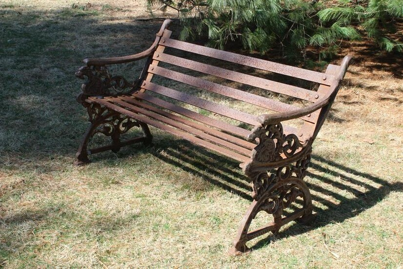 Cast Iron Griffin Motif Garden Bench