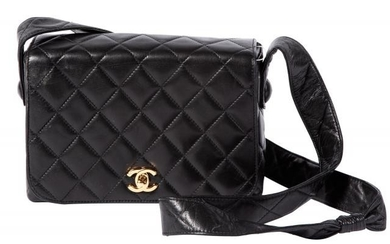 Chanel Black Quilted Leather Flap Top Messenger Bag