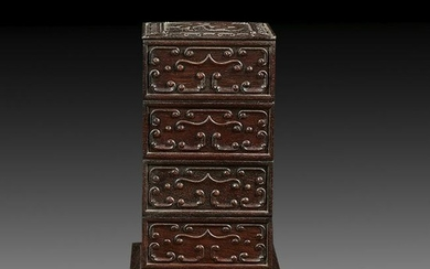 Chinese Carved Huali Wooden Box