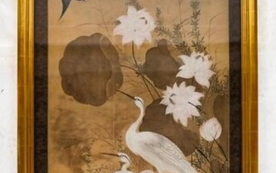 Chinese Scroll Painting of Storks