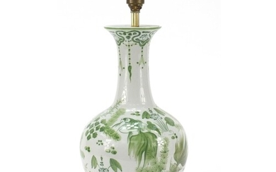 Chinese porcelain vase lamp hand painted with gold fish amon...