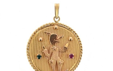 Circular medal in 18 K (750 °/°°°) yellow gold decorated with a juggling clown on a striated background, set with a green and a pink stone, the border twisted; Gross