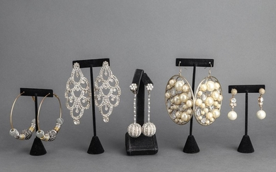 Costume Faux Diamond & Pearl Earring Group, 5 Pair