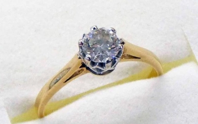 DIAMOND SOLITAIRE RING, THE DIAMOND APPROX 0.46 CARATS IN...