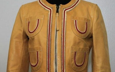 DSQUARED TRENDY BEIGE/RED LEATHER CROPPED JACKET BLAZER