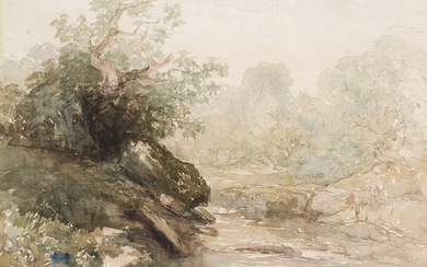 David Cox Snr OWS, British 1783-1859- A Rocky Stream surrounded...