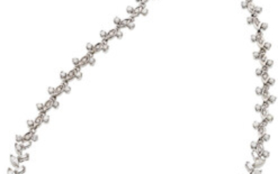 Diamond, Platinum, White Gold Necklace The necklace features marquise-shaped...