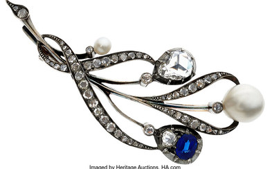 Diamond, Sapphire, Cultured Pearl, Silver-Topped Gold Brooch The brooch...