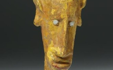 Early 20th C. African Bamana Wood Painted Puppet Head