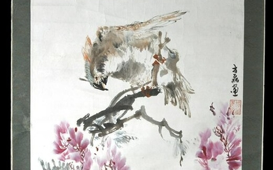 Early 20th C. Chinese Painting w/ Falcon & Flowers