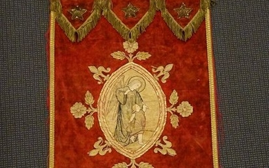 Embroidered drape with Archangel and child- Velvet, gold brocade- Late 19th century