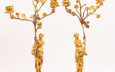 """FRENCH DORE BRONZE & MARBLE CANDELABRAS, PAIR, H 22"""", DIA 9"""""""