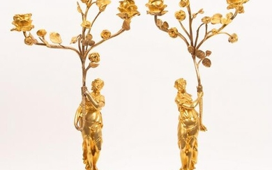 """FRENCH DORE BRONZE & MARBLE CANDELABRAS, PAIR, H 22"""""""