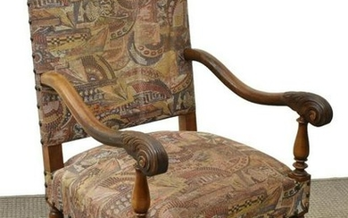 FRENCH LOUIS XIII STYLE WALNUT HIGHBACK FAUTEUIL