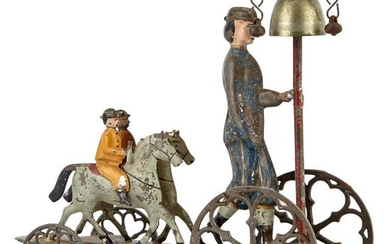 Figure and Two Small Horses on Tin Bell Toy