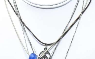 Five Designer Sterling Necklaces incl Diamond