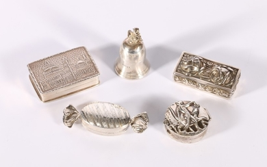 Five silver pill boxes in the form of a sweetie maker CME, a...
