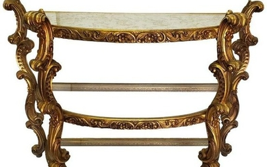 French Hand Made Giltwood Three GlassTier Console Table