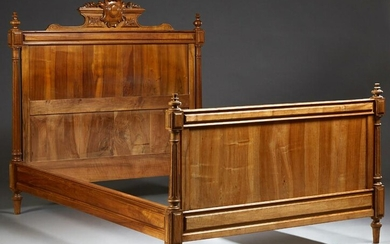 French Louis XVI Style Carved Walnut Double Bed, 20th