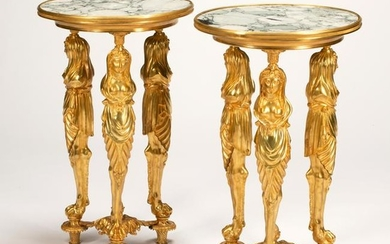 French Regence Style Dore Bronze Marble Top Figural