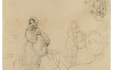 George Chinnery (1774-1852), Sketches of a Tanka boat girl and Chinese figures