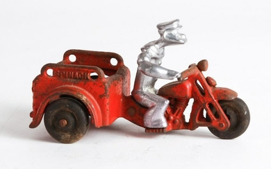 HUBLEY CAST IRON POPEYE SPINACH MOTORCYCLE