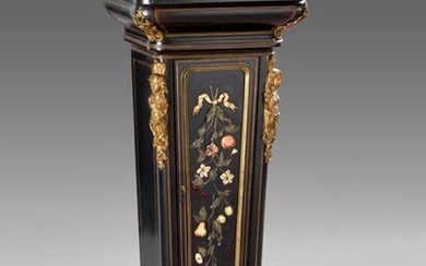 Important sheath forming a shelf in blackened wood veneer, inlays of hard stones decorated with flowers and fruits, and gilded bronzes. It opens to a leaf in the front revealing shelves. Rounded uprights underlined with espagnolettes. White marble top.