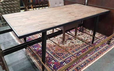 Industrial Metal Base Dining Table with Recycled Top (H:76 x L:180 x W:90cm)