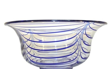 Italian Mid-Century Art Glass Bowl w Blue Swirls